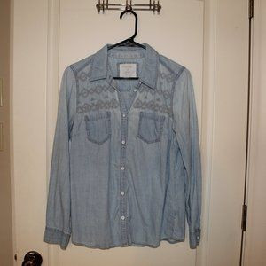 Embroidered Denim Top